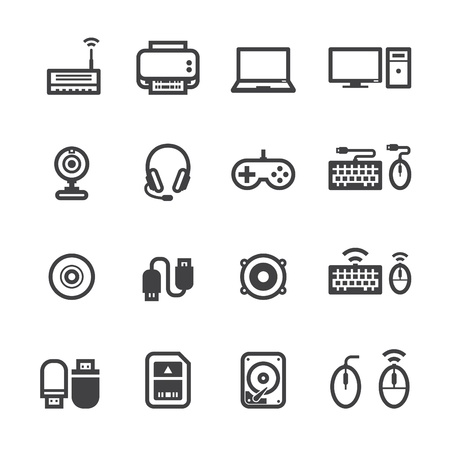 Computer Pictogrammen en en computer accessoires Pictogrammen met witte achtergrond Stockfoto - 20232818