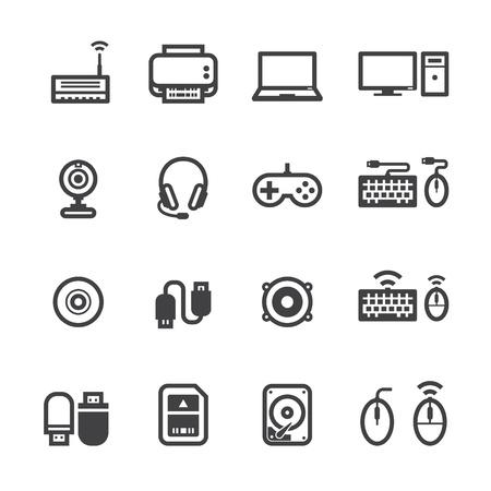 ordinateur de bureau: Icônes informatiques et d'ordinateurs et accessoires icônes avec un fond blanc Illustration