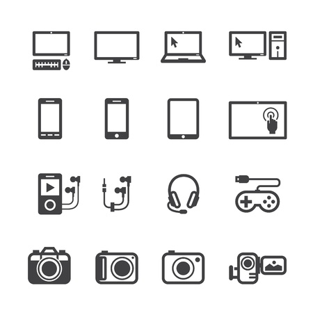 lcd tv: Electronic Devices Icons with White Background