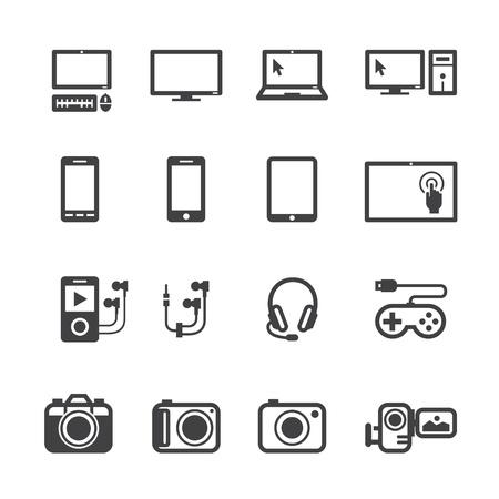 počítač: Elektronická zařízení ikony s bílým pozadím Ilustrace