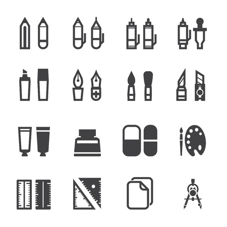 Drawing Icons and Painting Tools Icons with White Background