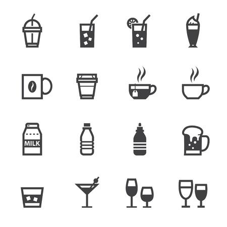 흰색 배경과 아이콘 및 음료 아이콘 음료