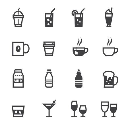 Drink icons and Beverages Icons with White Background Ilustração