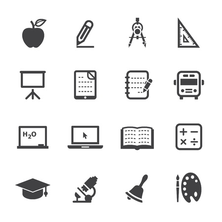 apple computers: Education Icons with White Background Illustration