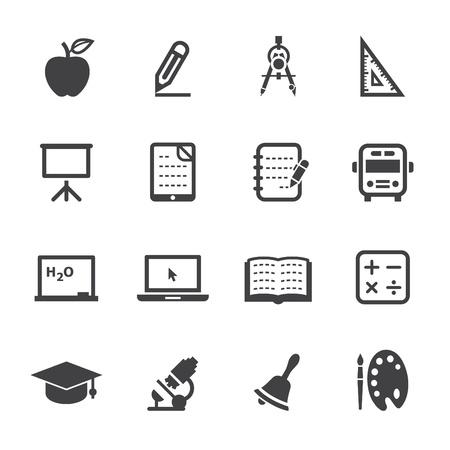 iconos educacion: Iconos de la educaci�n con el fondo blanco