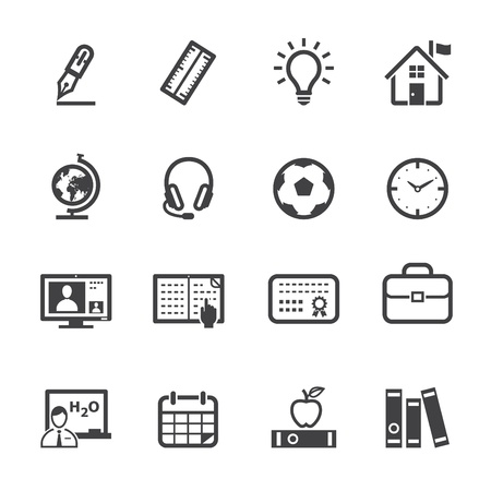 computer education: Education Icons with White Background Illustration