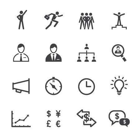 corporate hierarchy: Icone Finanza e le icone delle risorse umane con sfondo bianco Vettoriali