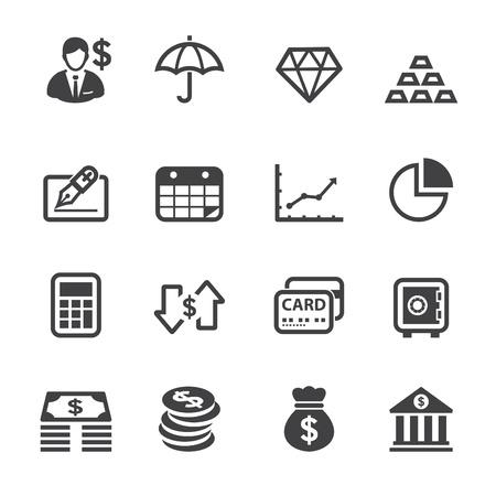 白い背景を持つ金融アイコン  イラスト・ベクター素材