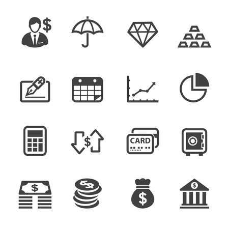 Finance Icons with White Background Çizim