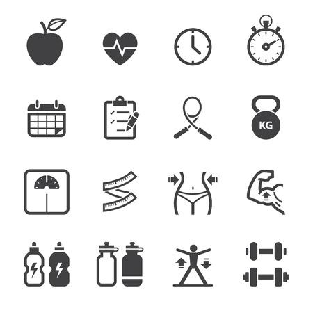 icone sanit�: Icone Fitness e icone Salute con sfondo bianco