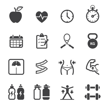 fitness hombres: Iconos de fitness y de salud iconos con fondo blanco Vectores