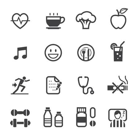Gezondheid Icoon en wellness pictogrammen met witte achtergrond Stock Illustratie
