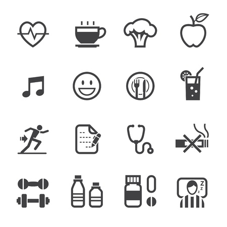 Health Icon and Wellness Icons with White Background