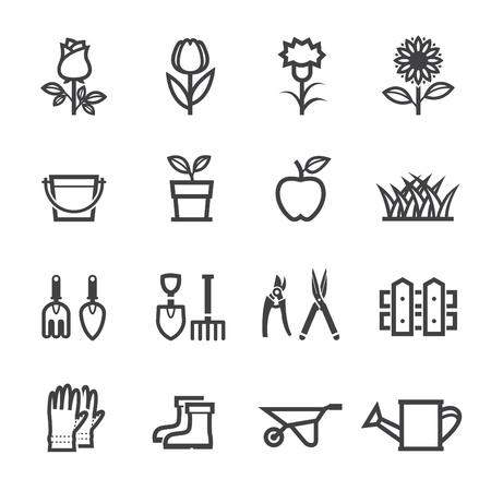 Bloem Pictogrammen en Gardening Tools Pictogrammen met witte achtergrond