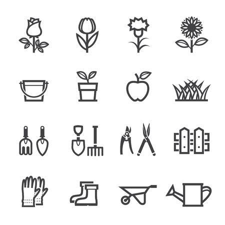 Flower Icons and Gardening Tools Icons with White Background Çizim