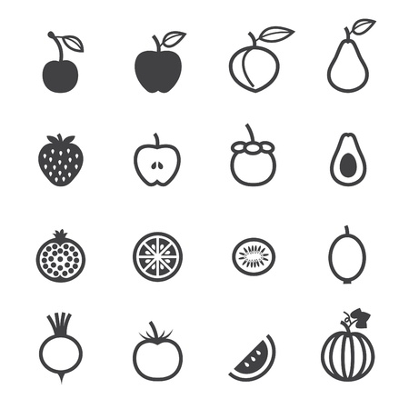 Fruits Icons and Vegetables Icons with White Background