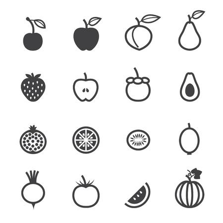 흰색 배경 과일 아이콘과 야채 아이콘 일러스트