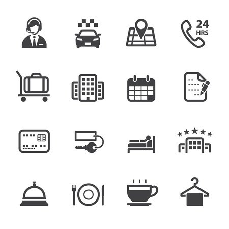 Hotel Icons and Hotel Services Icons with White Background Vectores