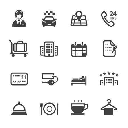 calendari: Icons Hotel Hotel Servizi Icone con sfondo bianco