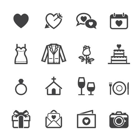 Iconos de la boda e iconos del amor con el fondo blanco Ilustración de vector