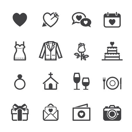 romance: Wedding Icons and Love Icons with White Background