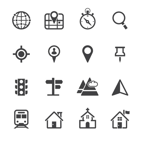 Map Icons and Location Icons with White Background Çizim