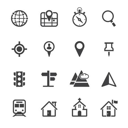elhelyezkedés: Térkép Ikonok és hely ikonok a fehér háttér Illusztráció