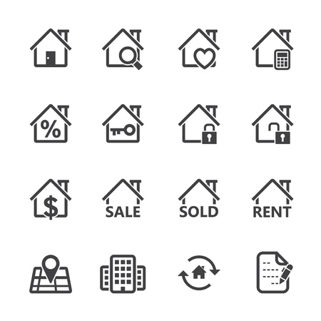 Real Estate Icons with White Background Vettoriali