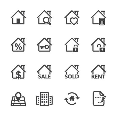 Immobilier icônes avec un fond blanc Banque d'images - 20232819