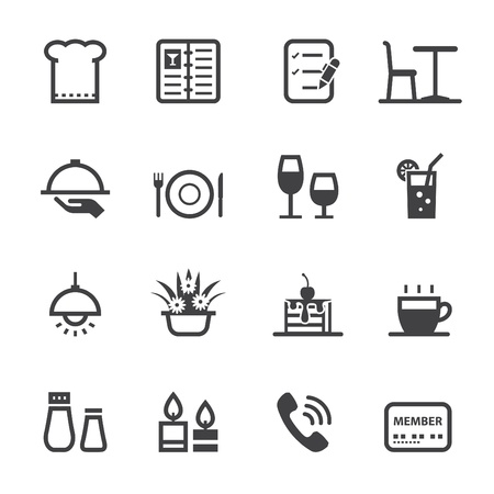 Restaurant icons with White Background Vettoriali