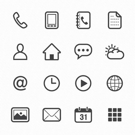launcher: Mobile Phone Icons with White Background