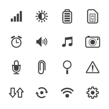 Mobiele telefoon Pictogrammen met witte achtergrond Stock Illustratie
