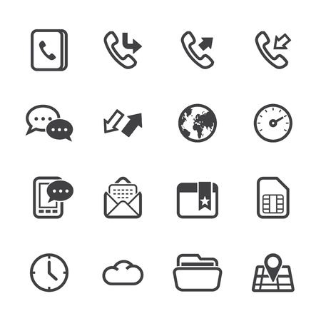 Mobile Phone Icons with White Background Banco de Imagens - 20232845