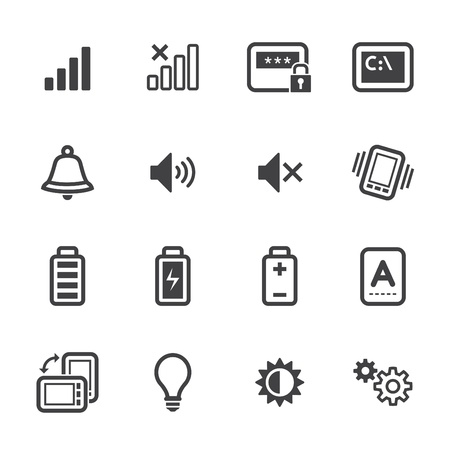 Mobile Phone Icons with White Background Vector