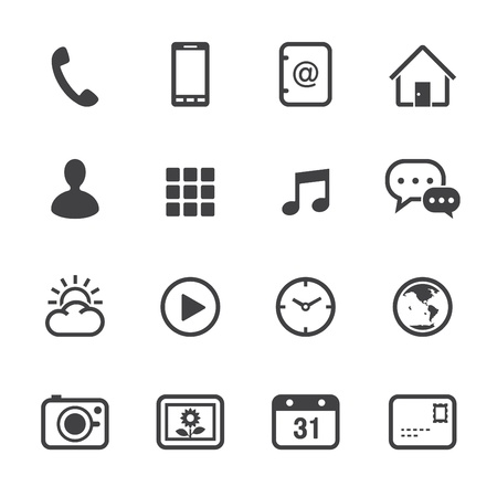 pictogrammes musique: Ic�nes du t�l�phone mobile avec un fond blanc Illustration