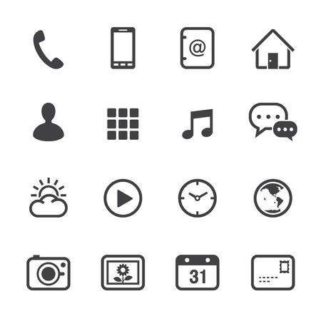 phone button: Mobiele telefoon Pictogrammen met witte achtergrond Stock Illustratie