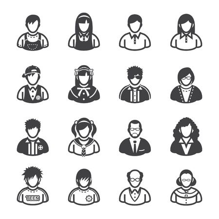Family Icons and People Icons with White Background Vector