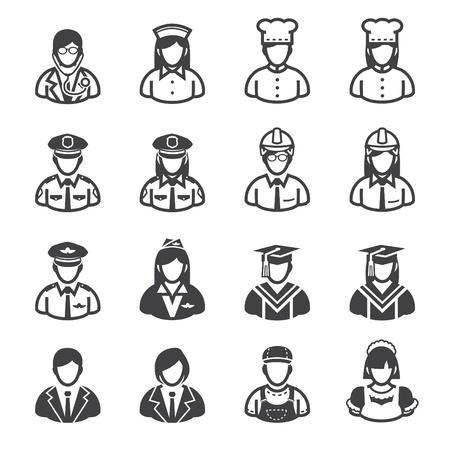 職業アイコンと白い背景を持つ人々 のアイコン  イラスト・ベクター素材