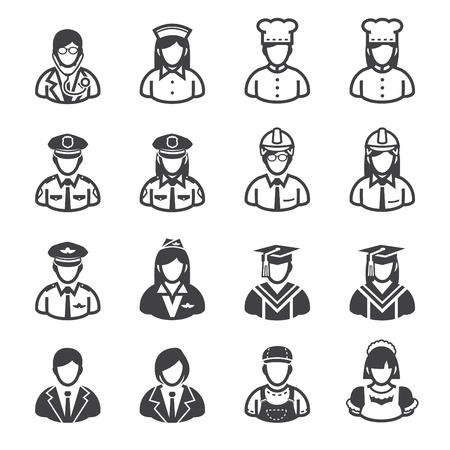jobs: Occupation Icons and People Icons with White Background