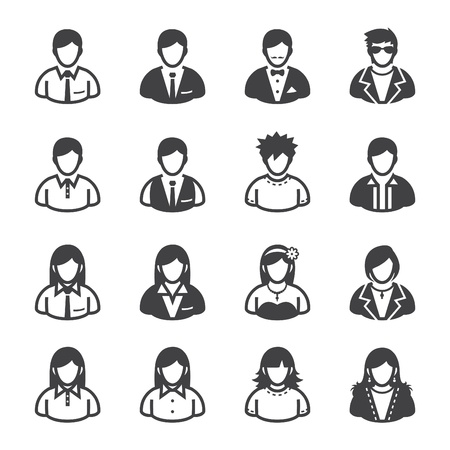 User Icons and People Icons with White Background Vettoriali