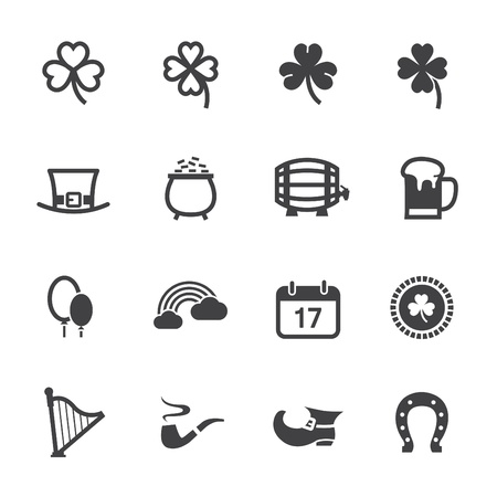 saint patrick��s day: Saint Patrick s Day Icons with White Background Illustration