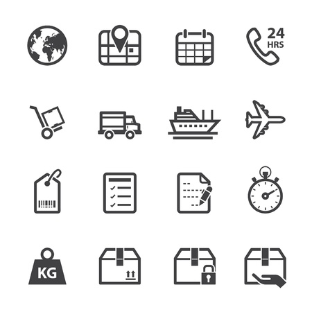 Shipping Icons and Logistics Icons with White Background Vector