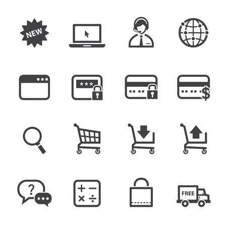 흰색 배경 온라인 아이콘 쇼핑