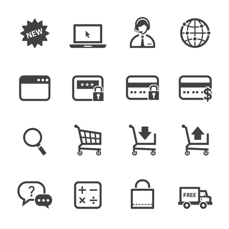shops: Shopping Online Icons with White Background Illustration