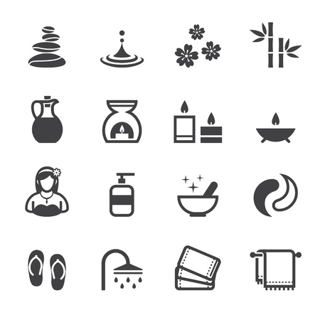massage stones: Spa Icons with White Background Illustration