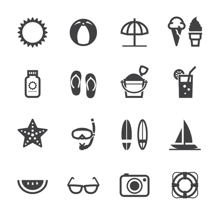 summer holiday: Summer Icons and Vacation Icons with White Background Illustration