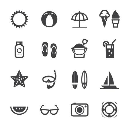 schnorchel: Summer Icons und Urlaub Icons mit wei�em Hintergrund