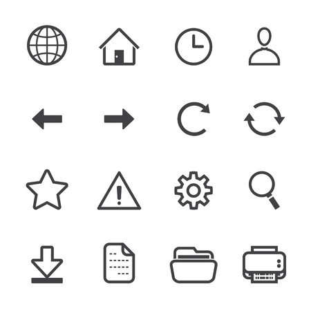 Website and Toolbar Icons with White Background Ilustração
