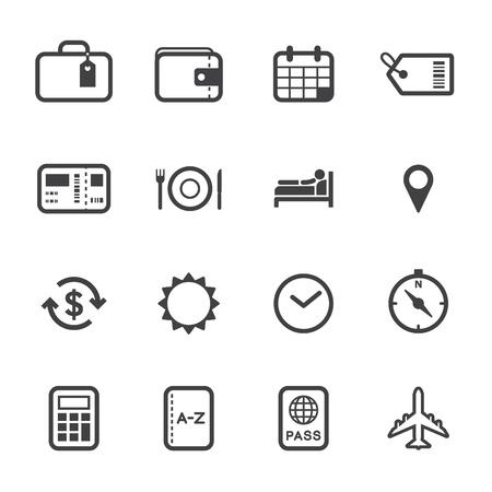 Reizen en vakantie pictogrammen met witte achtergrond
