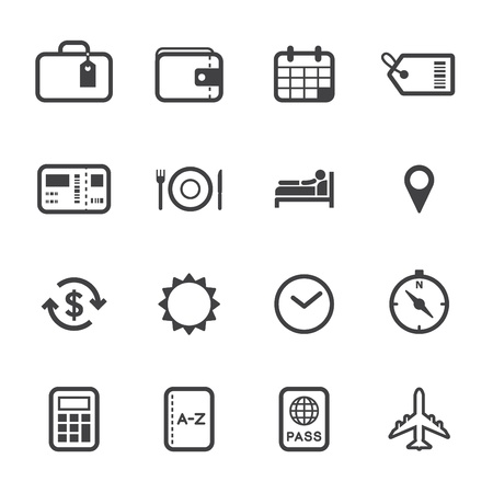 Travel and Vacation Icons with White Background Vettoriali